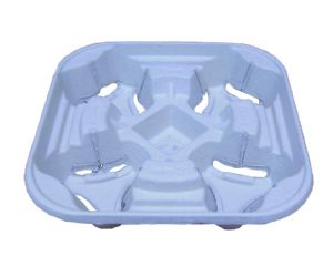 4 Cup Paper Pulp Carry Tray